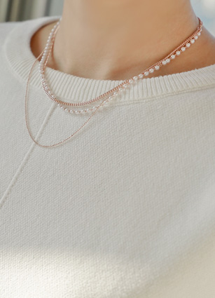 Rose Gold and Pearl 3-Stage Slim Necklace <br>