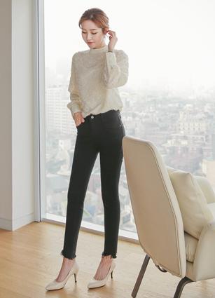 Black Cutting Secret Bending Skinny Pants (3721) <br> <B>(S ~ L)</b> <br>