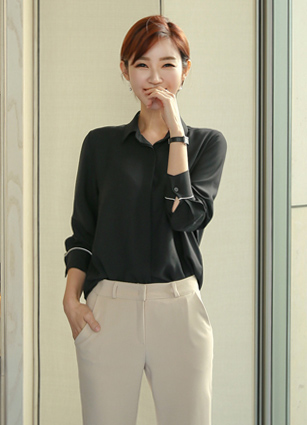 Basic Line Cuff Blouse <br>