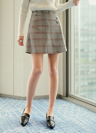 Awesome side button Check skirt pants <br> <B>(S ~ L) / Broadcast sponsorship product</b> <br>