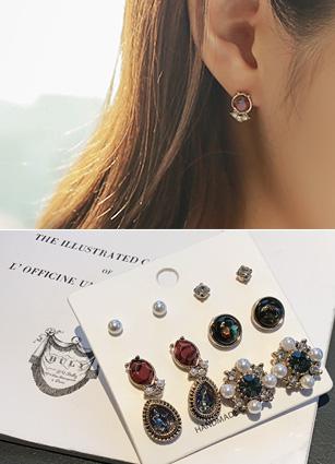 (6Piece set) Antique Pearl Cubic Earring <br>