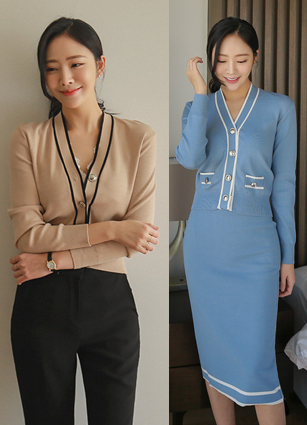 Laurent Silver Button Knit Two-piece SET (Cardigan + Skirt) <br>
