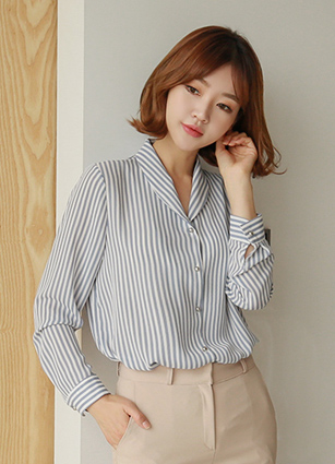 Stripe Round Collar Blouse <br> [Review 87Piece]