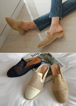 "Net Ratan Mule Slippers <br> <font color=""#ed1558""><b>[height heel: 2.5cm]</b> <br></font>"