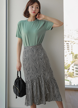 Curl Reed Banding Appearance Long Skirt <br>