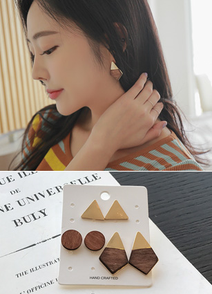 (3Pieceset) Motif Wood gold earring <br>