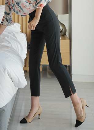 Moment Slit Slim Date Cool Slacks <br> <B>(S ~ L)</b>