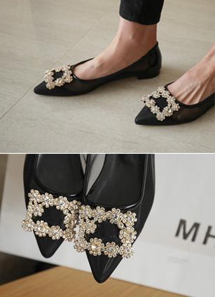 "Roger Cubic Square Mash Flat shoes <br> <font color=""#ed1558""><b>[height heel: 1cm]</b> <br></font>"