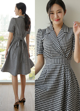 Diane Check Black Flare One-piece dress <B>(S, M, L)</b>