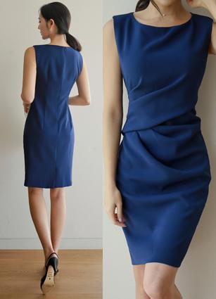 Bane Shirring Drape Sleeveless One-piece dress <B>(S, M, L)</b>