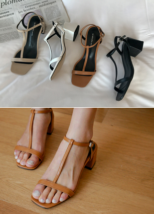 TStrap middle-heeled sandals <br> <FONT color=#980000>◆ Remaining Quantity: Black / 235 1 pair</font> <br>
