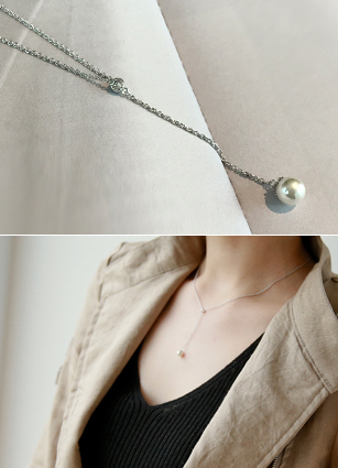 Pearl Yolive Slim Necklace <br>