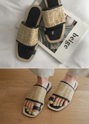 "Square Ratan Slippers <br> <font color=""#ed1558""><b>[height heel: 1.5cm]</b> <br></font>"