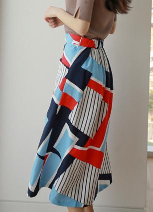 Humming Back Bending Pattern Linen Full Skirt <br>