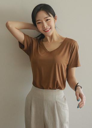 <b><FONT color=#980000>[From Challenge]</font></b> <br> Mod Cutting VNeck Silket Modal T-shirt <br>