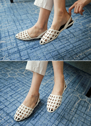 Birkin Punching Sling backs Flat Shoes <br> <FONT color=#980000>◆ Quantity left: Brown / 240 1, White / 230 1, White / 245 1</font> <br>