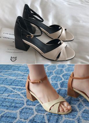 """Coment Toe open Strap heel <font color=""""#ed1558""""><b>[Heel: 5cm]</b> <br></font>"""