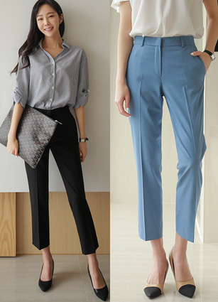Signature Summer Slim Date Linen Slacks <br> <FONT color=#980000>◆ Remaining Quantity: Light Blue / S 1 sheet</font> <br>