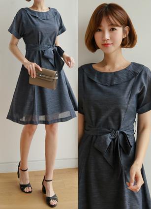 <b><FONT color=#980000>[Exclusive sale]</font></b> <br> Flare Linen One-piece dress <B>(S, M)</b> <br> (Broadcast sponsorship)