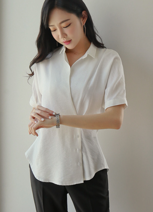 Jeremy Wings Wrap Soybean button Shirt Blouse <B>(FREE, L)</b> <br> (Broadcast sponsorship)
