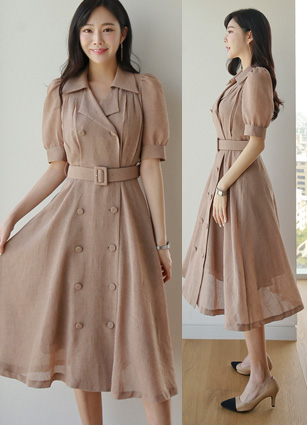 <b><FONT color=#980000>[From Challenge!]</font></b> <br> Delve Double-button Trench Long One-piece dress (Beltset) <B>(FREE, L)</b> <br> (Broadcast sponsorship)