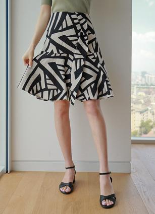 Filo back banding Pattern Linen Skirt <br>