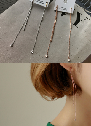 Bar cubic olive earring <br>