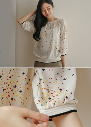 Twinkle Star shibori Man to man Blouse <br>