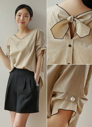 Piping Pearl Pinch Ribbon Bundle Shirt <br> [Later 53Piece] (Broadcast sponsorship)