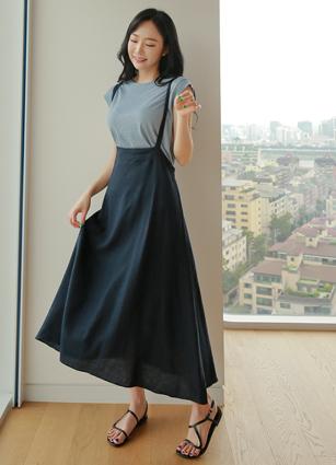 <b><FONT color=#980000>◆ Order runaway!</font></b> <br> Cub Back Banding Linen String One-piece dress <br>