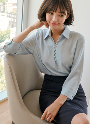 DePaul Soybean button Kara Blouse <br>