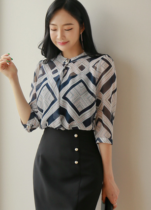 Lucy Pattern Pearl Chiffon Blouse <br>