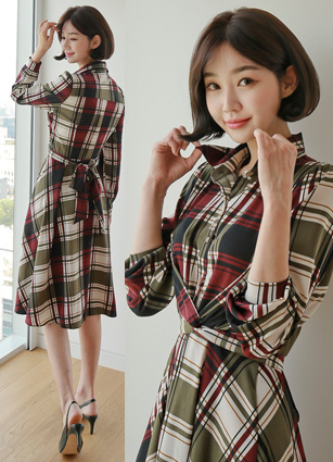 Eiffel Check Kink Shirt One-piece dress <br>