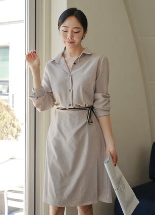 Emma Stripe Double Wrap Shirt One-piece dress <br> <b>(Broadcast sponsorship)</b> <br>