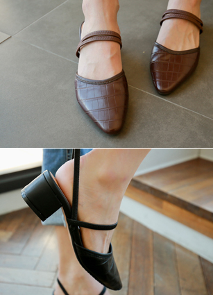 "Cozy Bending Strap Middle Sling backs <font color=""#ed1558""><b>[Heel: 5cm]</b></font>"