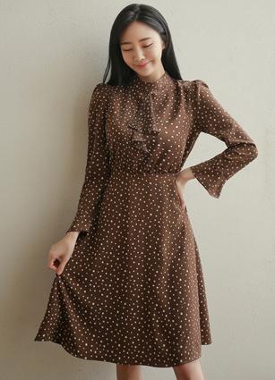 Henne frill high neck Dot One-piece dress <br>