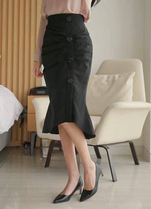 Lint Button Shirring Skirt <br> <B>(S-L)</b>