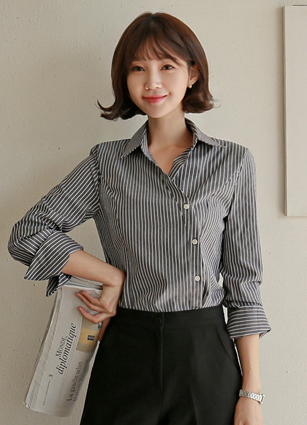 Glow diagonal button Stripe Shirt <B>(FREE, L)</b> <br> <FONT color=#980000>◆ Remaining Quantity: Charcoal / L 1 piece</font> <br>