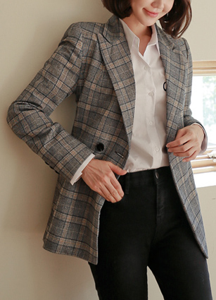 Double-button Check Jacket <br> <B>(S ~ L)</b> <br>