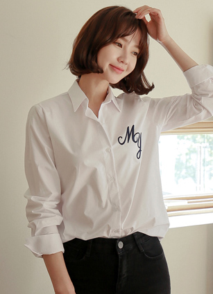 My Lettering Embroidery Cotton Shirt (White) <br>