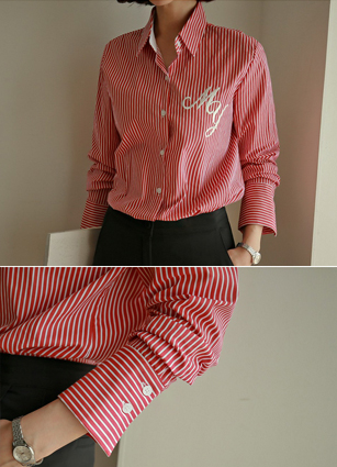 My Lettering Embroidery Cotton Shirt (Red) <br>