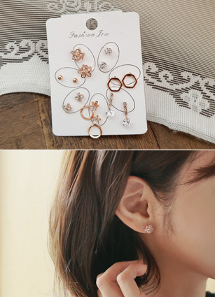 (7Pieceset) Cubic flower rose gold earring <br>