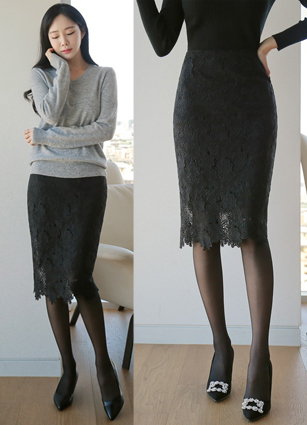 No cell Lace Skirt <br> <B>(S ~ L) / Sponsorship product</b>