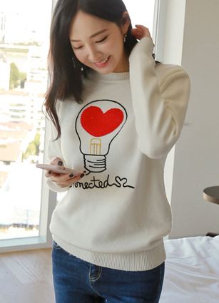 Heart Signal Embroidery Knit <br>