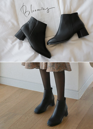 "Side zipper ankle boots <br> <font color=""#ed1558""><b>[height heel: 5cm]</b> <br></font>"