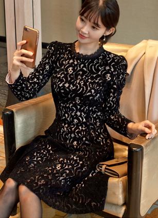 Piaget Velvet Lace One-piece dress <br> <B>(S ~ L)</b>