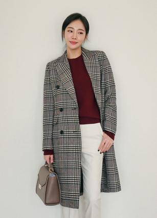 Alec Double-button Wool Check Long Coat <B>(S, M)</b>