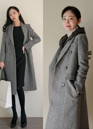 Wool Herringbone Long Coat <B>(S, M)</b>