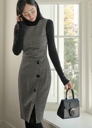 Elizabeth Button Rap Check Wool One-piece dress <br> <B>(S ~ L) / Sponsorship product</b>