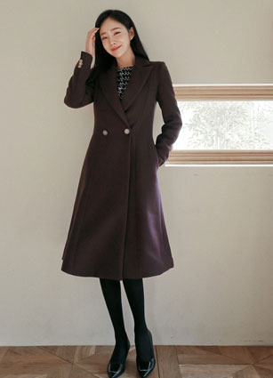 Brody Button Flare Long Coat (S, M, L) <br>